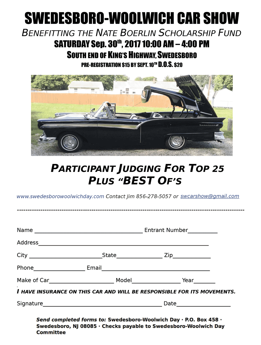 Swedesboro Woolwich Day October St - Car show judging sheet
